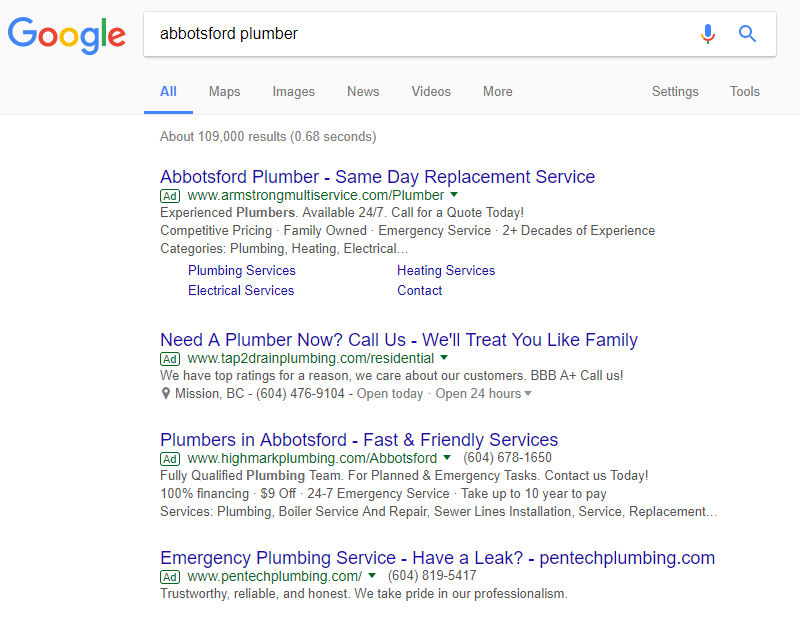 screenshot of Google AdWords